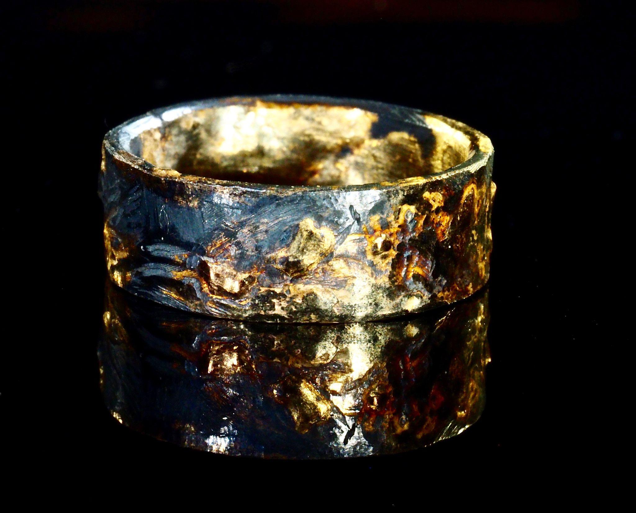 unique mens wedding bands mens unique wedding rings Unique mens wedding band gold silver Mens Gold Wedding Ring Black Unique Viking Rustic