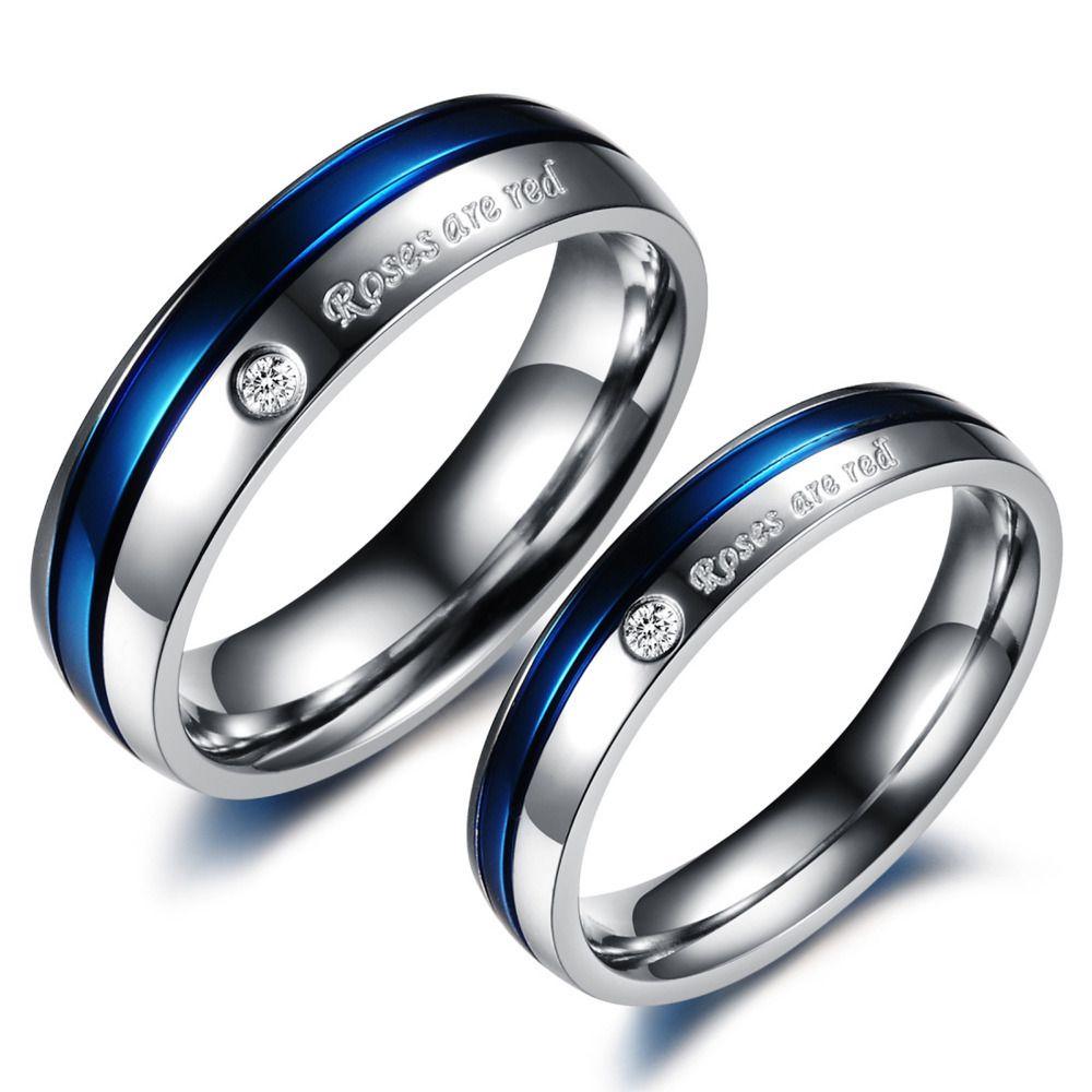 couples wedding bands Blue Wedding Rings for Women Blue CZ Diamond Titanium