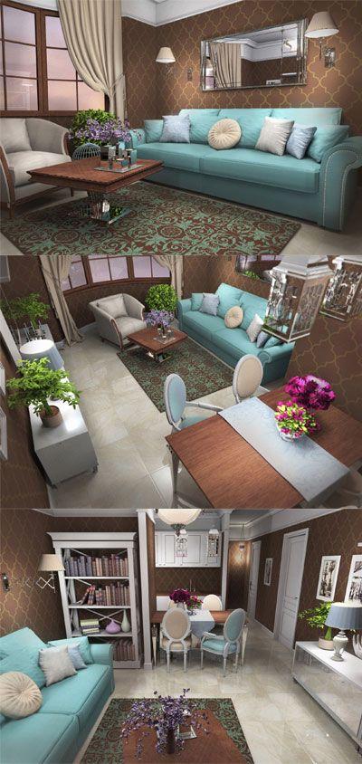 Living Room, Duck Egg Blue Sofa, Chocolate Brown Wallpaper | Portfolio | Pinterest | Brown ...