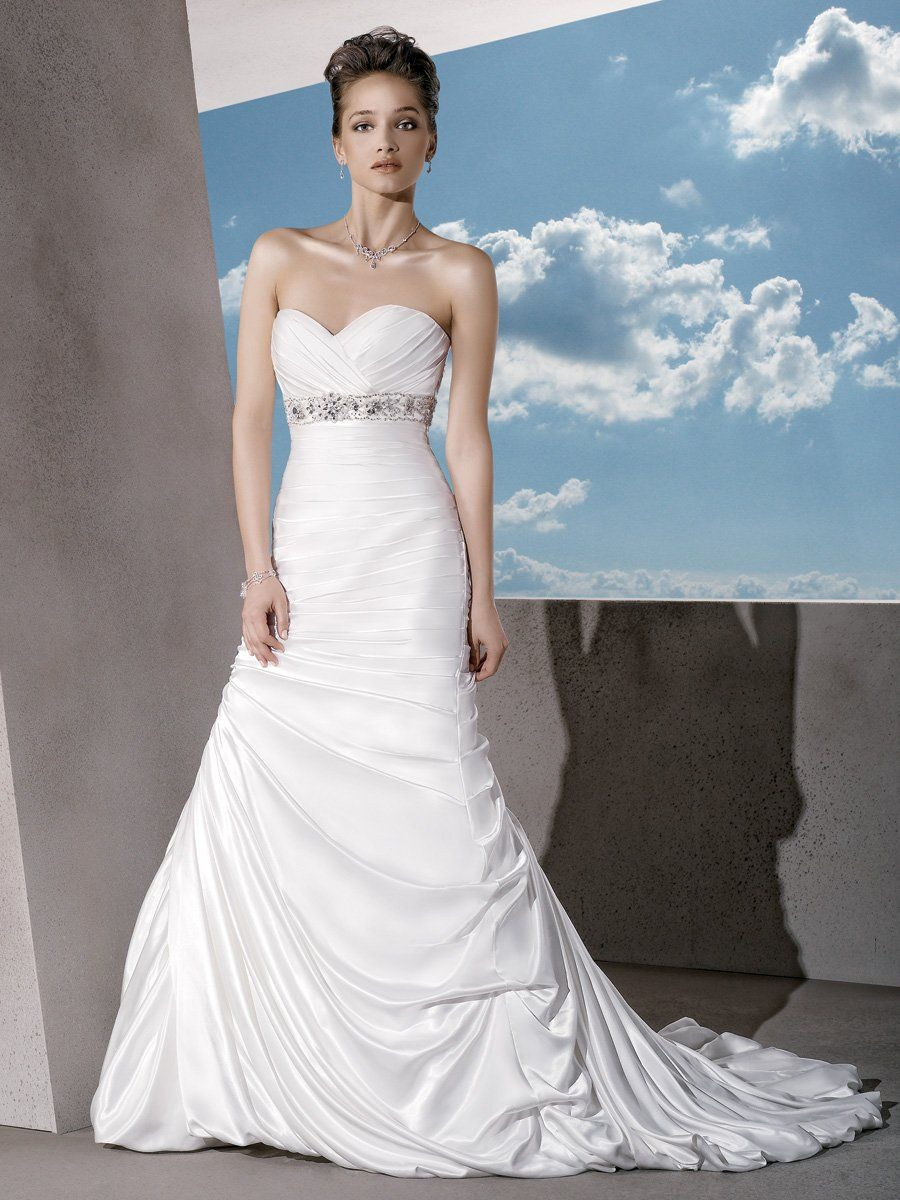 jeweled wedding dress Balletts Bridal Wedding Gown by Demetrios Satin Strapless with a Ruched Sweetheart neckline and Lace up back Beaded belt highlights Empire