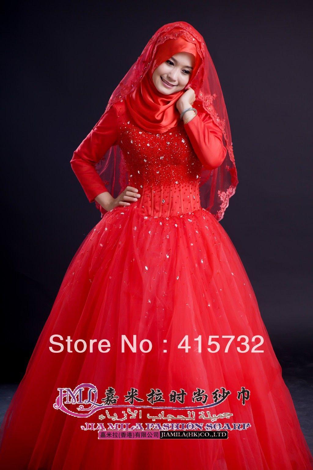 muslim wedding dresses Red Islamic Wedding Hijab Dresses Hijab Style Trends