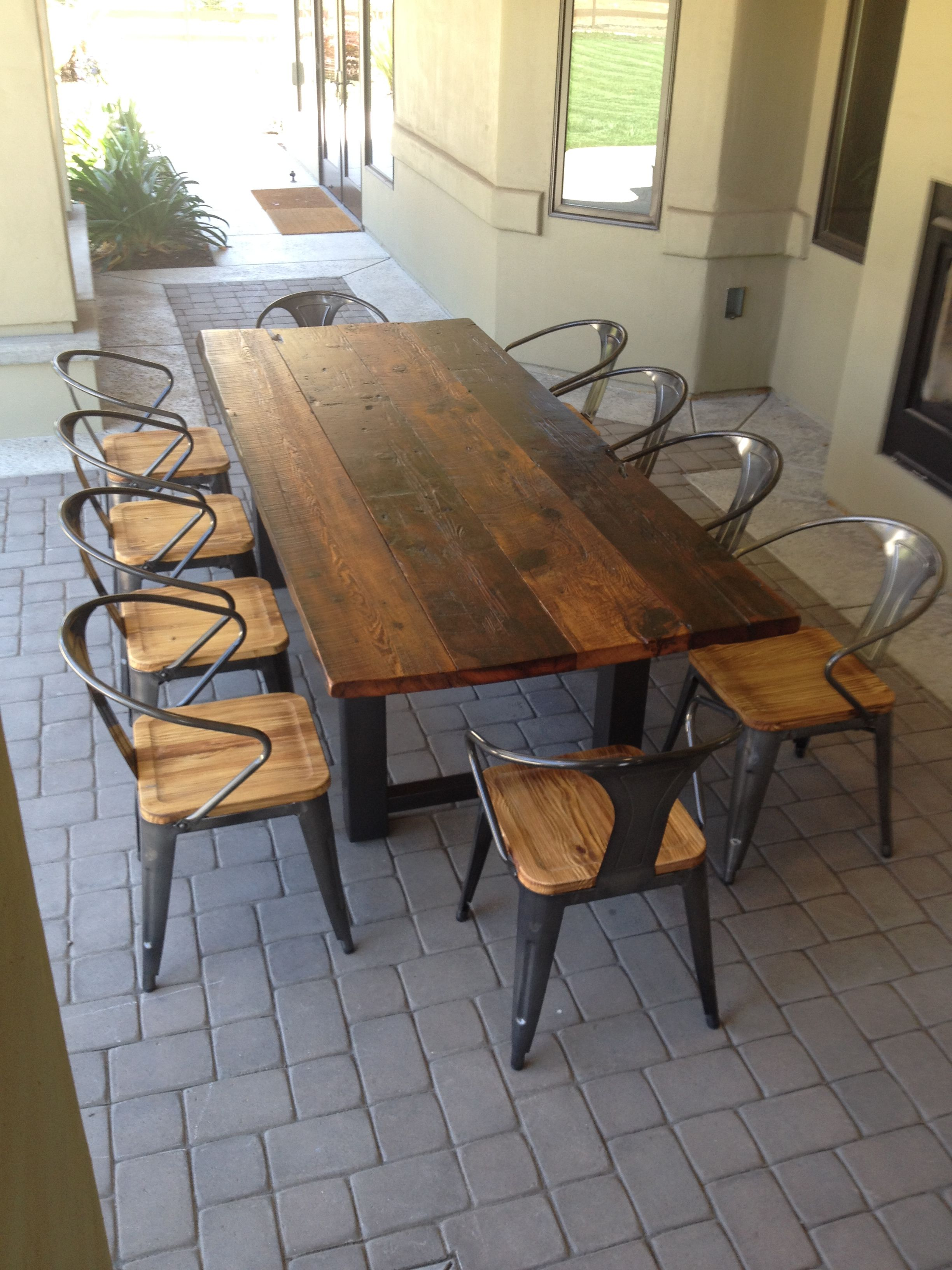 wood kitchen tables Reclaimed Wood and Steel Outdoor Dining Table 1