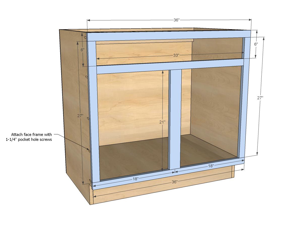 36 kitchen sink Ana White Build a 36 Sink Base Kitchen Cabinet Momplex Vanilla Kitchen