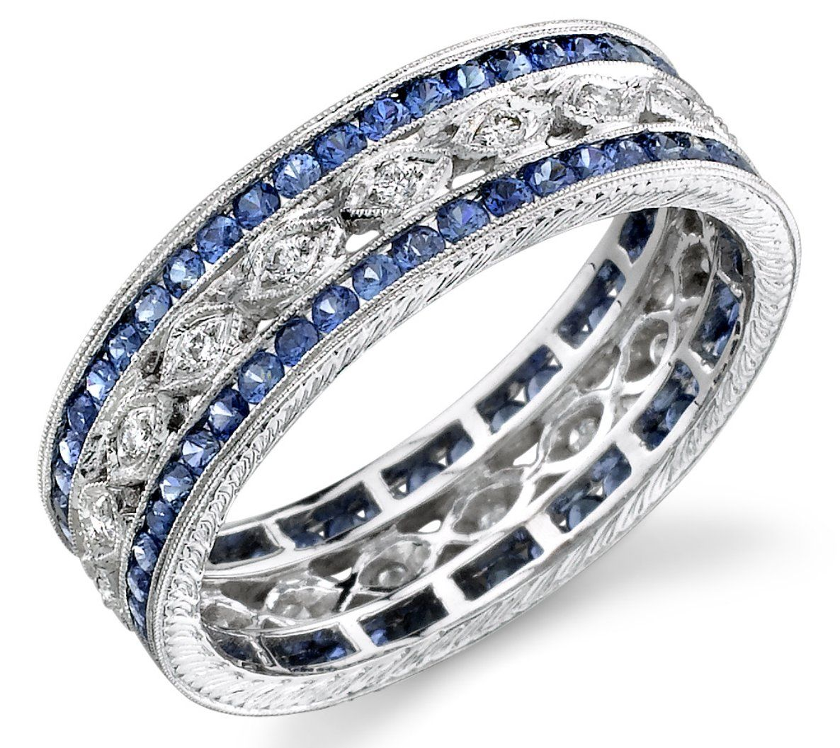 wide wedding bands wide diamond sapphire band Love this for a push present because it can be