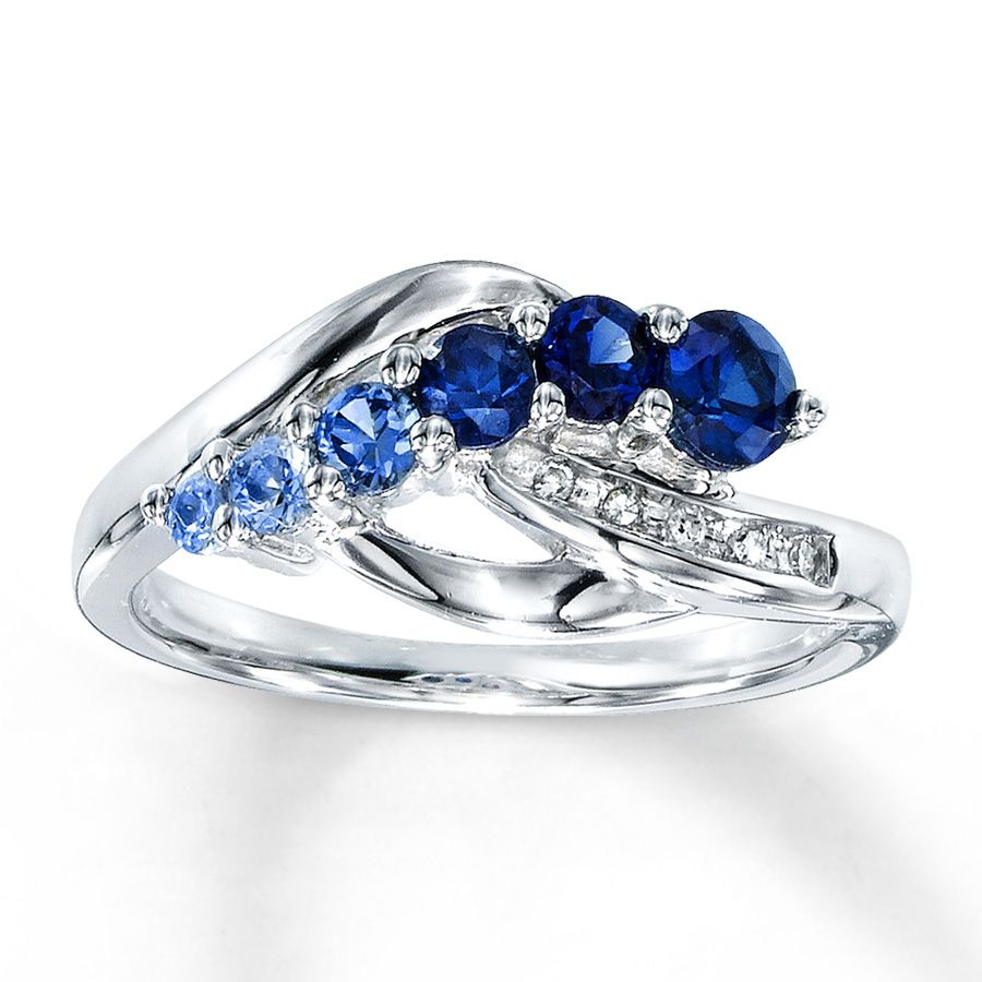 blue sapphire wedding rings Lab Created Sapphire Ring Diamond Accents Sterling Silver
