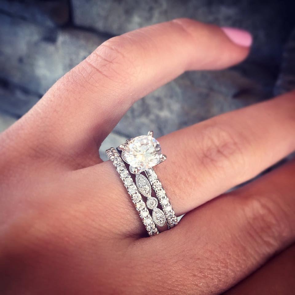 engagement wedding rings 14K White Gold Blue Sapphire Diamond Cluster Ring