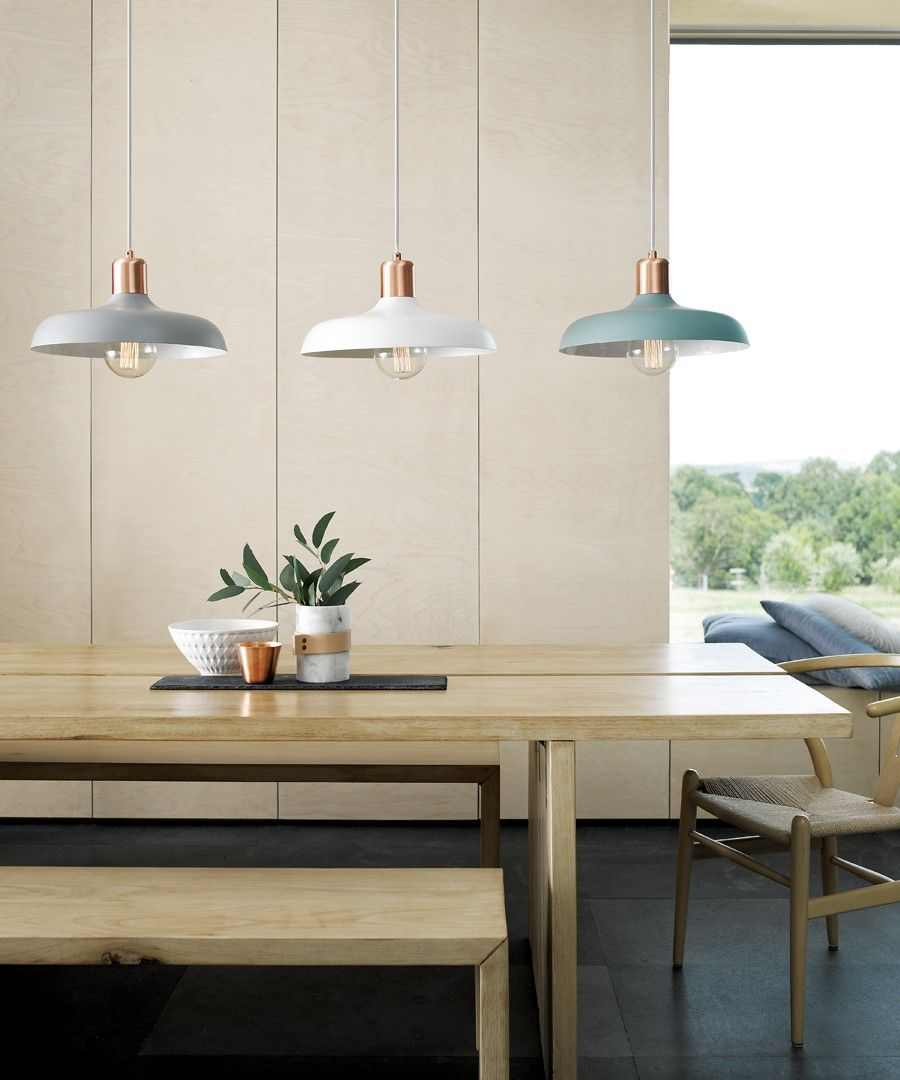 copper pendant light kitchen Beacon Lighting Croft 1 light metal pendant in ash with brushed copper detail Grey for