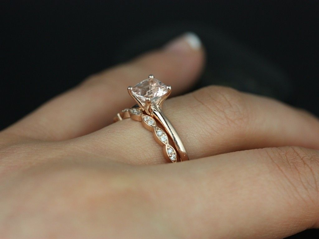 morganite wedding ring set Albina 6mm 14kt Rose Gold Cushion Morganite and DiamondsTulip Solitaire Wedding Set Other metals and stone options available