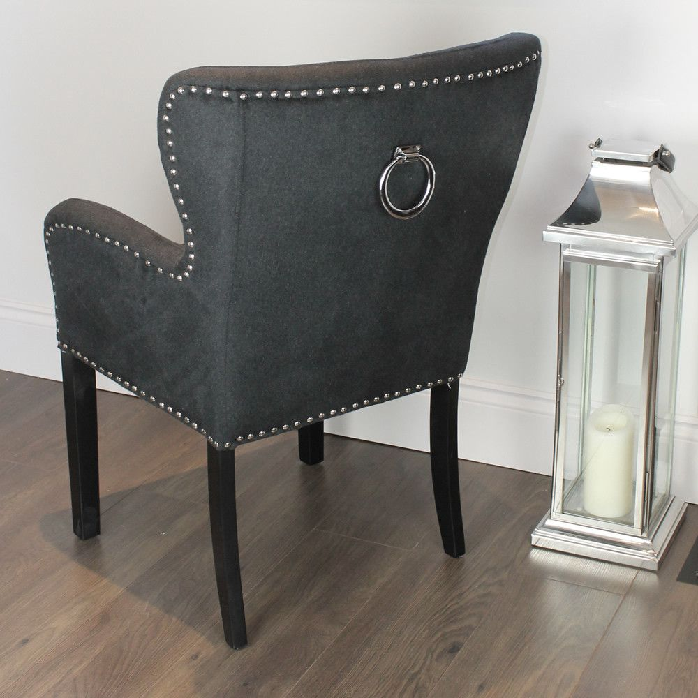 kitchen chairs with casters Black Studded Dining Chair with Arms Silver Ring