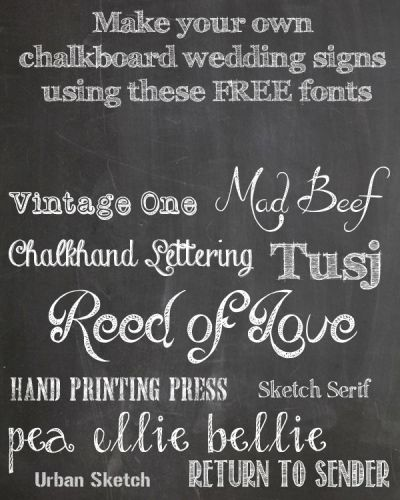 FREE Chalkboard Fonts For Wedding Signs – Printable ...