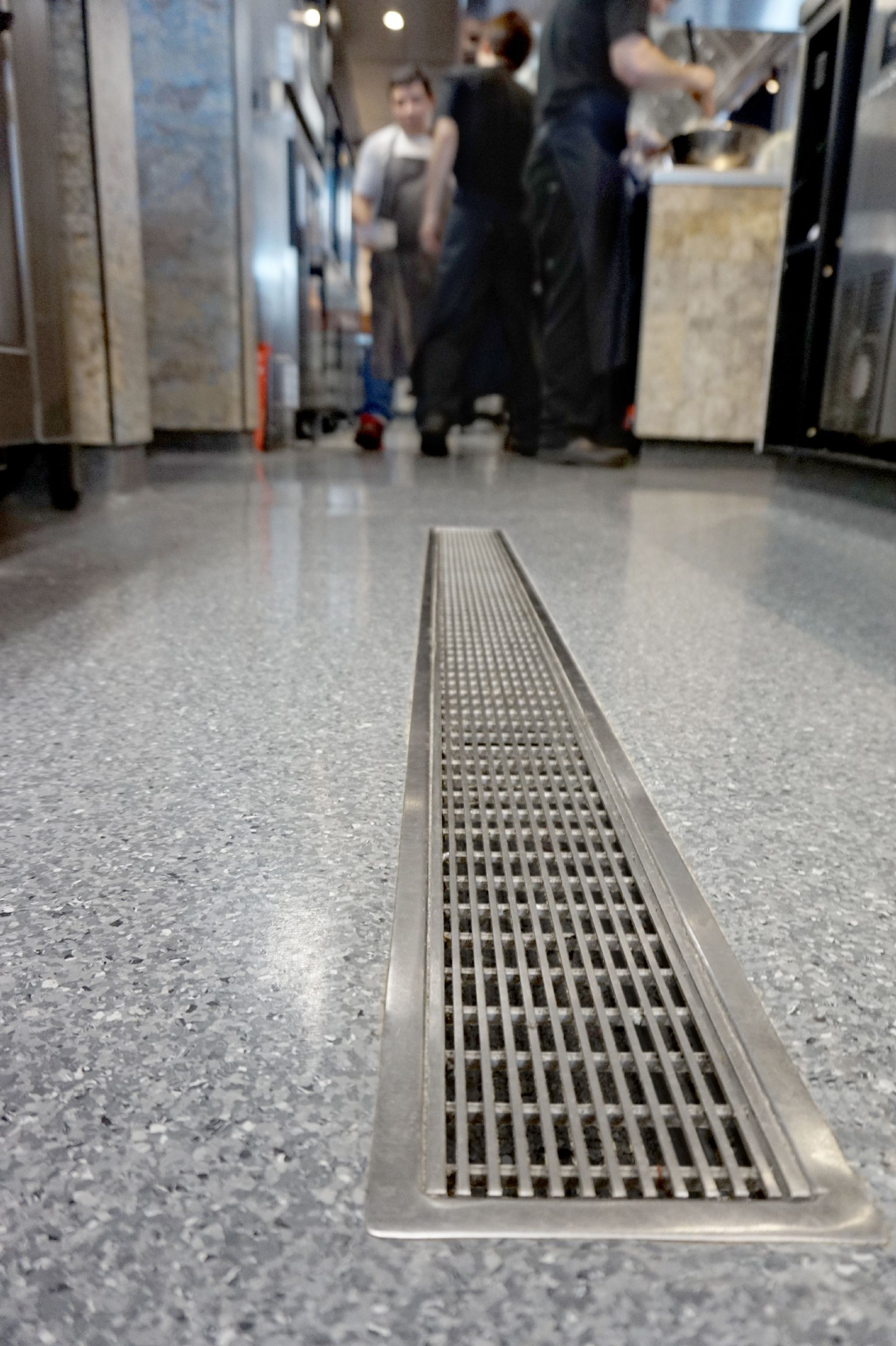 commercial kitchen flooring Allproof VCC channel for commercial kitchen drainage solutions with Wedge Wire R11 rated slip resistant grate