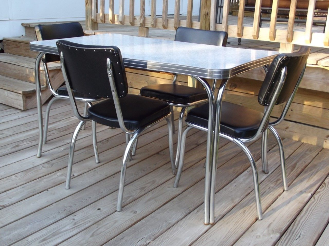 formica tables retro kitchen chairs Vintage Retro s Kuehne Dining Kitchen Formica Chrome Table 4 Chairs Eames