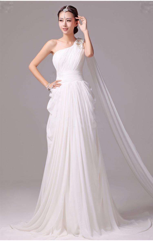 grecian wedding dress Elegant Greek Goddess Chiffon Beaded One Shoulder Wedding Dress