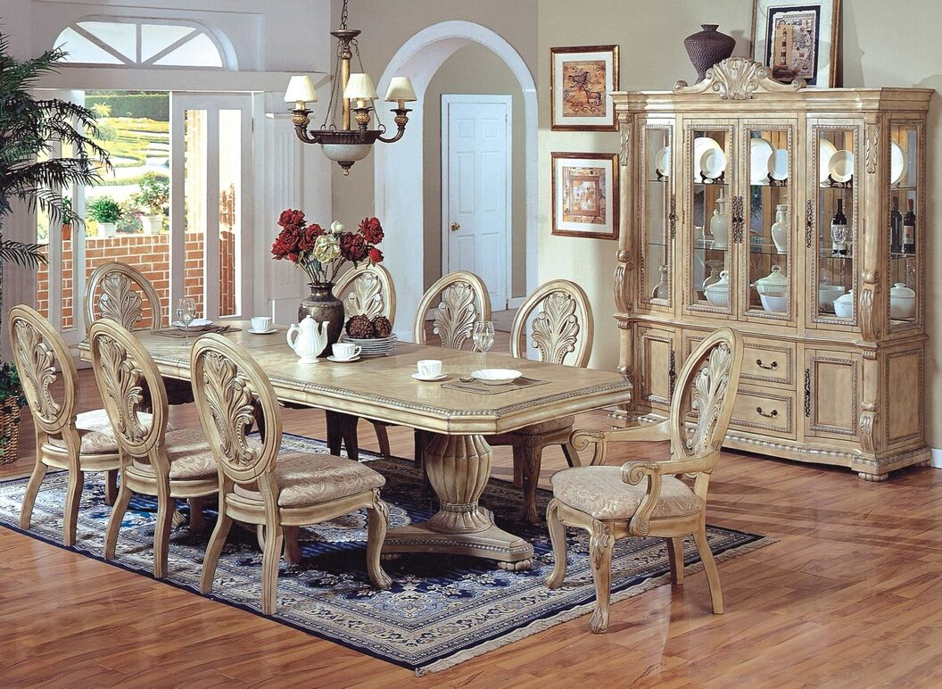 whitewash kitchen table 7 pc Hampton II antique white wash finish wood double pedestal dining table set with carved