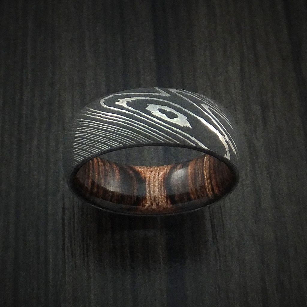 custom mens wedding bands Damascus Steel Ring with Heritage Brown Hardwood Interior Sleeve Custom Made