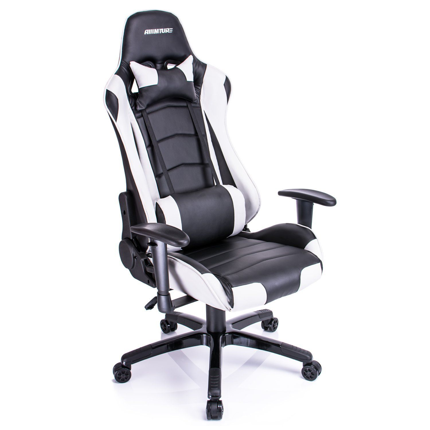 amazon kitchen chairs Amazon com Aminitrue High back Gaming Chair Racing Style Adjustable Chair White