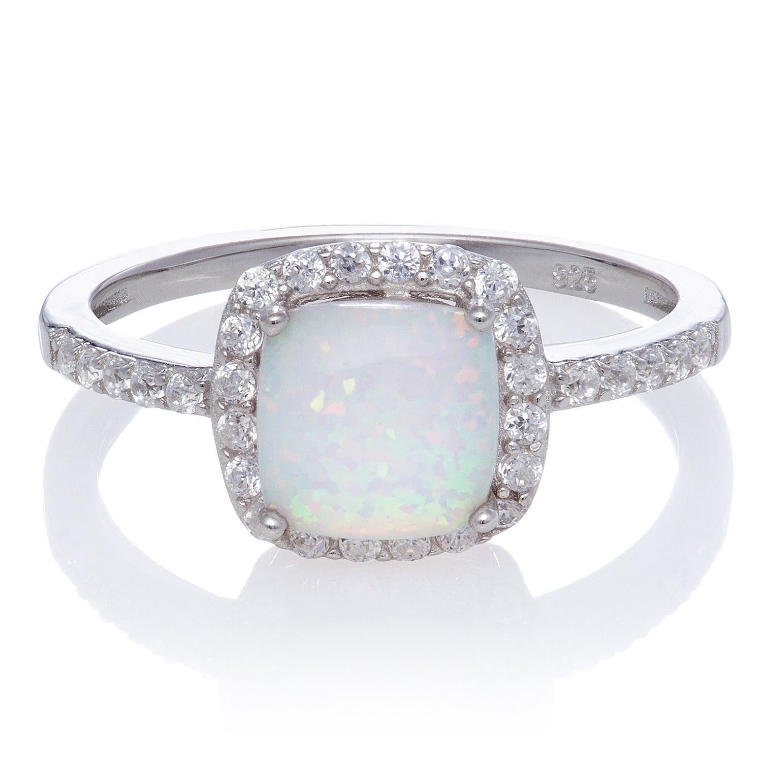 white sapphire wedding rings Cushion Cut Halo Opal and White Sapphire Ring in Sterling Silver mm