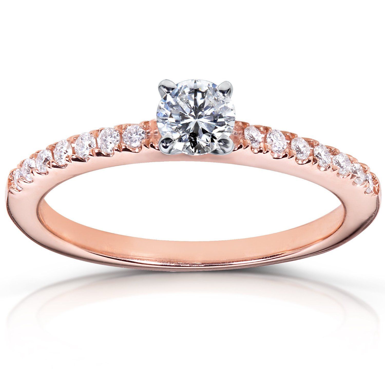 rose gold wedding rings 14k Rose Gold Round Diamond Engagement Ring Here s an elegant simply beautiful solitaire