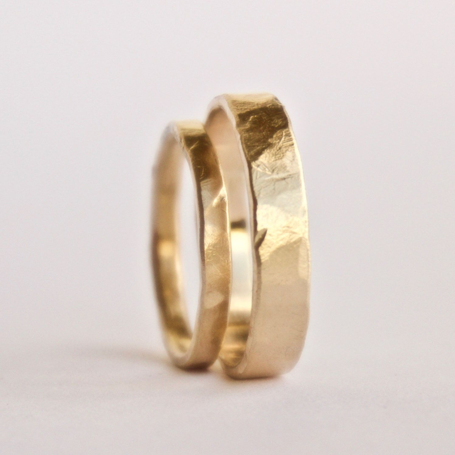 etsy mens wedding bands Wedding Ring Set Two Hammered Gold Rings Rustic Textured Rings 18 Carat Gold Wedding Band Men s Women s Couples Unique