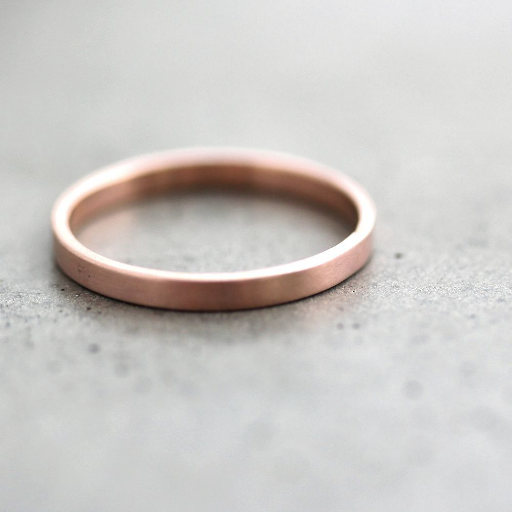 2mm wedding band Rose Gold Wedding Band Stackable Ring 2mm Slim Flat Recycled 14k Rose Gold Ring Brushed Pink Gold Wedding Ring or Stacking Ring