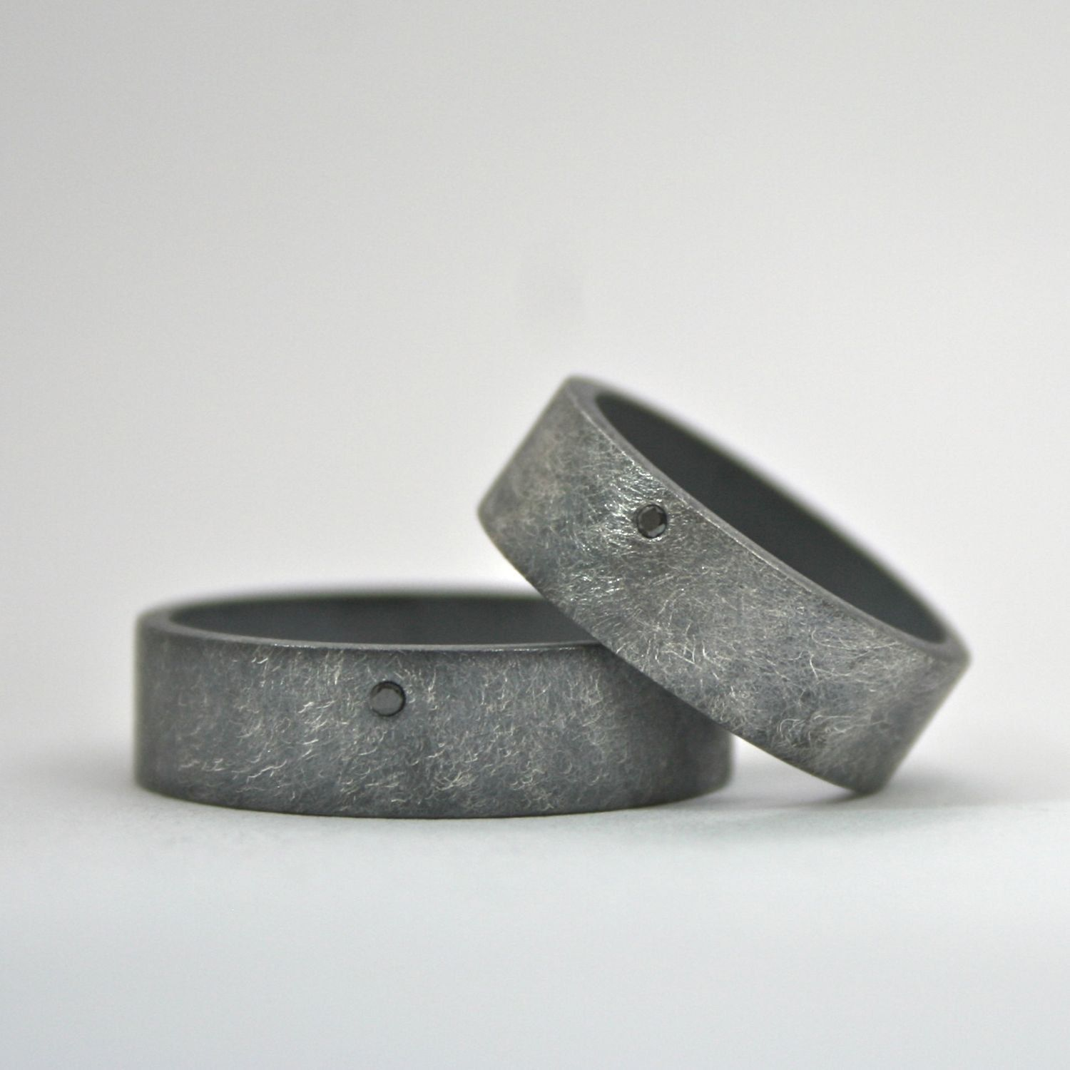 alternative wedding rings Black Diamond Ring Set Wedding Bands Oxidized Finish Wide Sterling Silver Rings