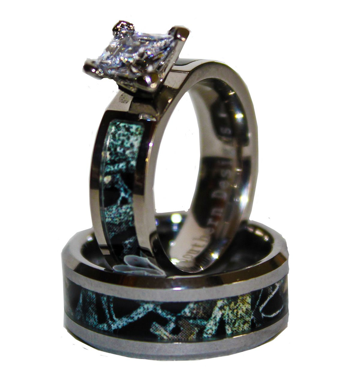 camo wedding band sets Black Camo on Silver Band Couples Ring Set With Stone