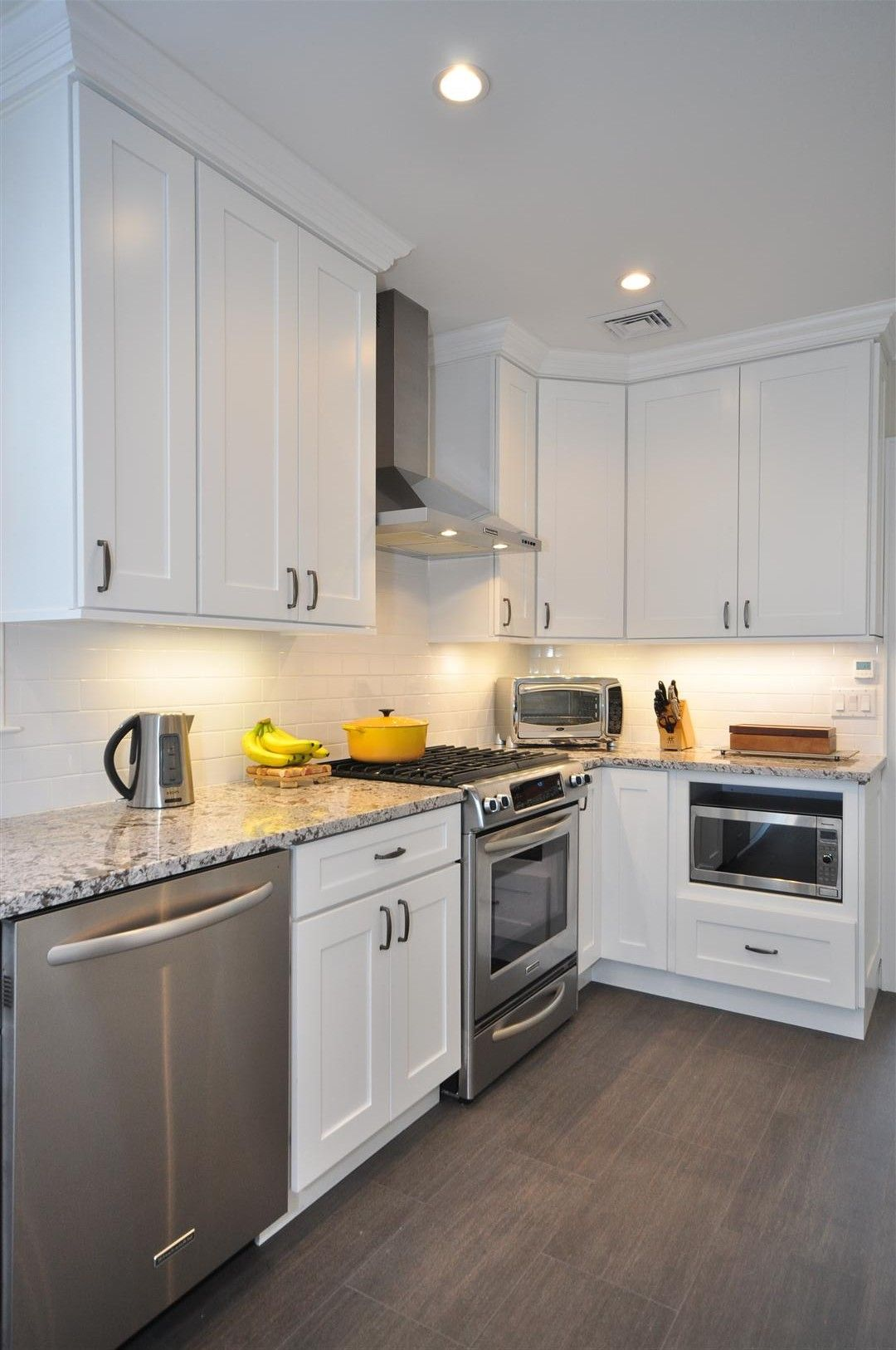 white shaker kitchen cabinets white shaker kitchen cabinets Gray Floor Gray Counter tops