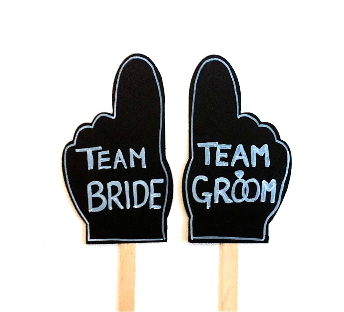 wedding photo booth props Items similar to 2 Chalkboard Fingers Photo Booth Props Team Bride and Team Groom Hand Finger Signs Props Chalk board Photobooth Props Wedding Decoration on