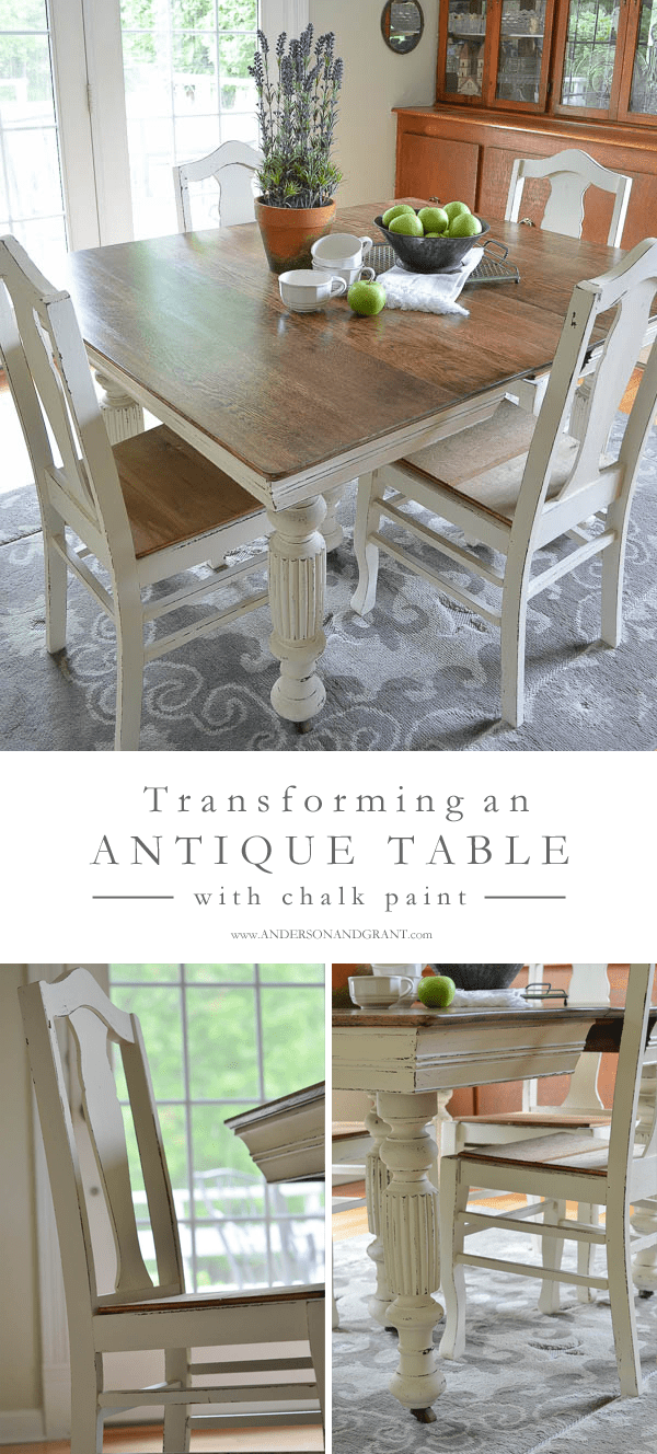 kitchen table and chairs Transforming an Antique Dining Table and Chairs using white chalk paint