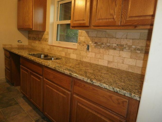 back splash kitchen counters and backsplash Cream Granite Brick Back Splash Mixed With Granite Counter Top On Brown Wooden Kitchen Cabinet As Well As Granite Countertops Tile Backsplash And Backsplash