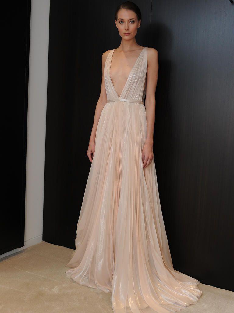 plunging neckline wedding dress J Mendel blush wedding dress with plunging neckline from Spring