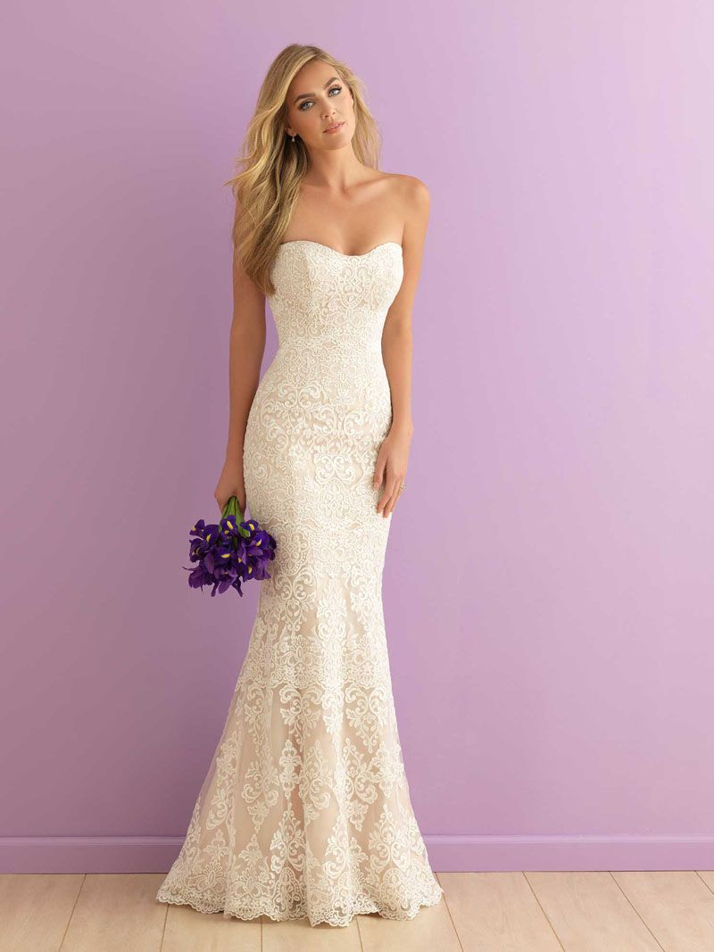 wedding dresses mermaid lace Mermaid Strapless Sweetheart Floor Length Subtle Lace Wedding Dress