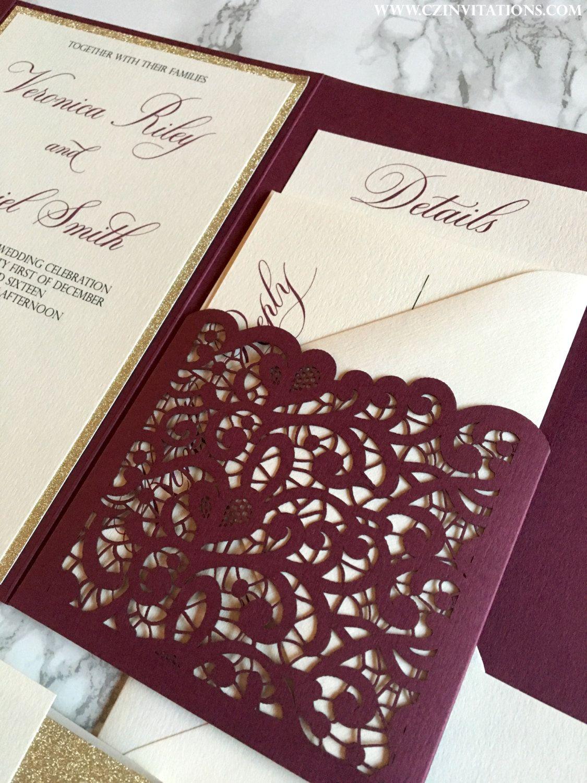 burgundy wedding invitations Laser Cut Pocket Wedding Invitation Burgundy and Gold Glitter Wedding Invitation Marsala Invitation