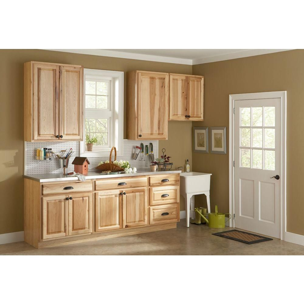 home depot kitchen countertops Hickory Natural Kitchen Cabinet Crown Moulding