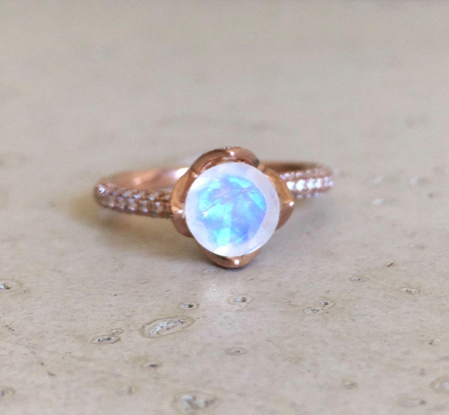 moonstone wedding ring sets Lotus Flower Moonstone Engagement Ring Rose Gold Moonstone Promise Ring Diamond Moonstone Bridal Ring Rose Gold Moonstone Wedding Ring