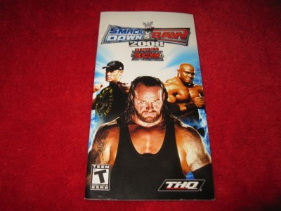 Smackdown VS Raw 2008 : Playstation Portable PSP Video Game Instruction Booklet