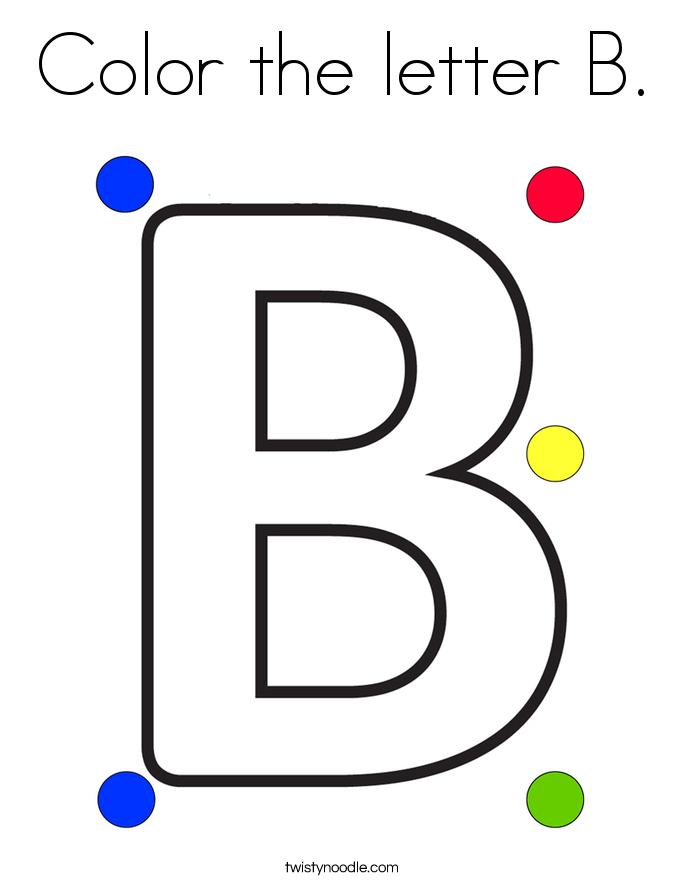 Color the letter B Coloring Page - Twisty Noodle