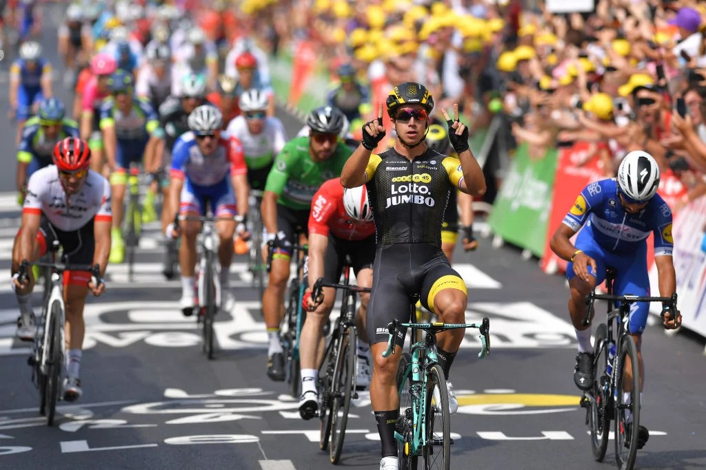 2018 Tour de France  stage 8   VeloNews com Dylan Groenewegen of The Netherlands and Team LottoNL     Jumbo Celebration    Andre Greipel of Germany and Team Lotto Soudal   Fernando Gaviria of  Colombia