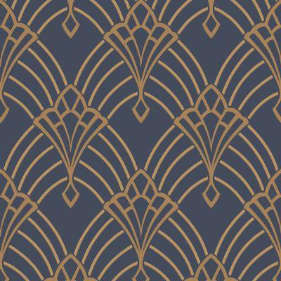 ASTORIA ART DECO WALLPAPER DARK BLUE / GOLD - RASCH 305340 4000441305340 | eBay