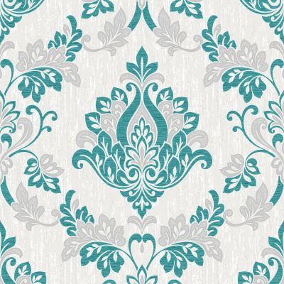VYMURA SYNERGY TEAL BLUE WHITE SILVER GLITTER WALLPAPER - STRIPE, FLORAL, DAMASK | eBay