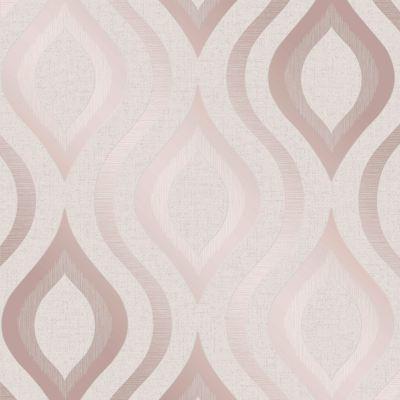 ROSE GOLD / PINK GREY BEIGE WALLPAPER STRIPE GEOMETRIC DAMASK MARBLE METALLIC   eBay