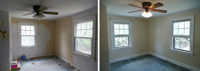 Before and after wallpaper removal, window trim, wall and ...