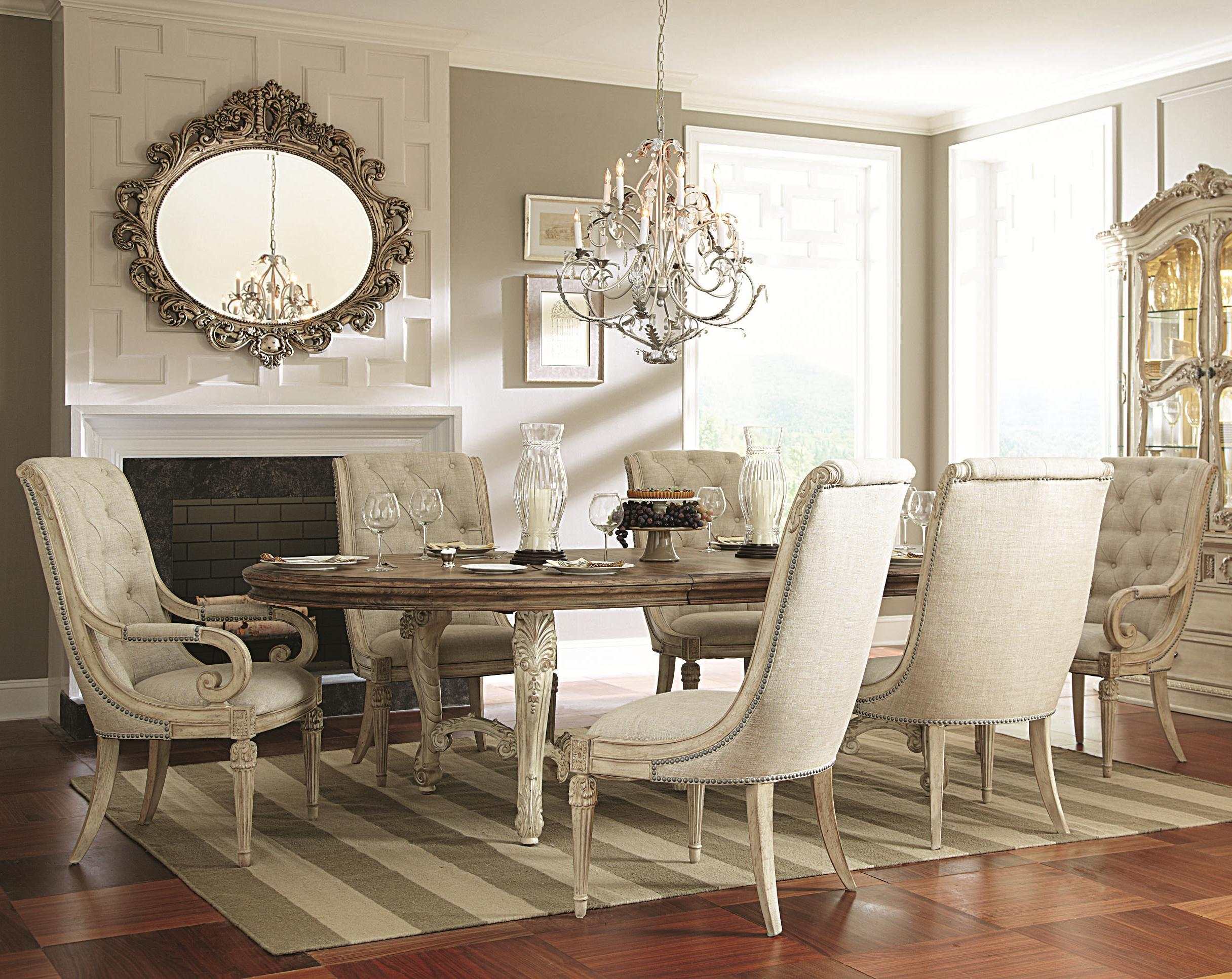 oval kitchen table 7 Piece Oval Dining Table with Upholstered Arm Side Chairs