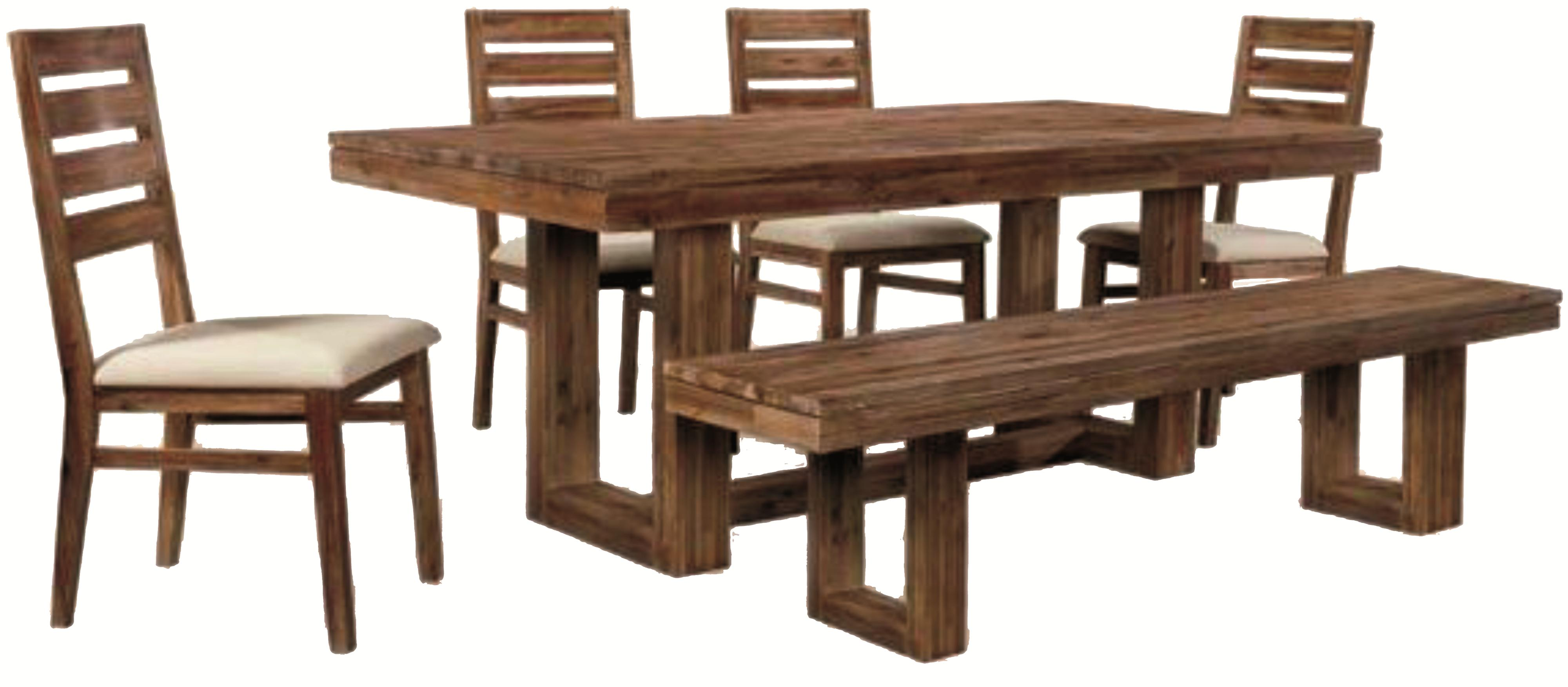 rustic kitchen chairs Six Piece Modern Rustic Rectangular Trestle Table with Ladderback Side Chairs Dining Bench