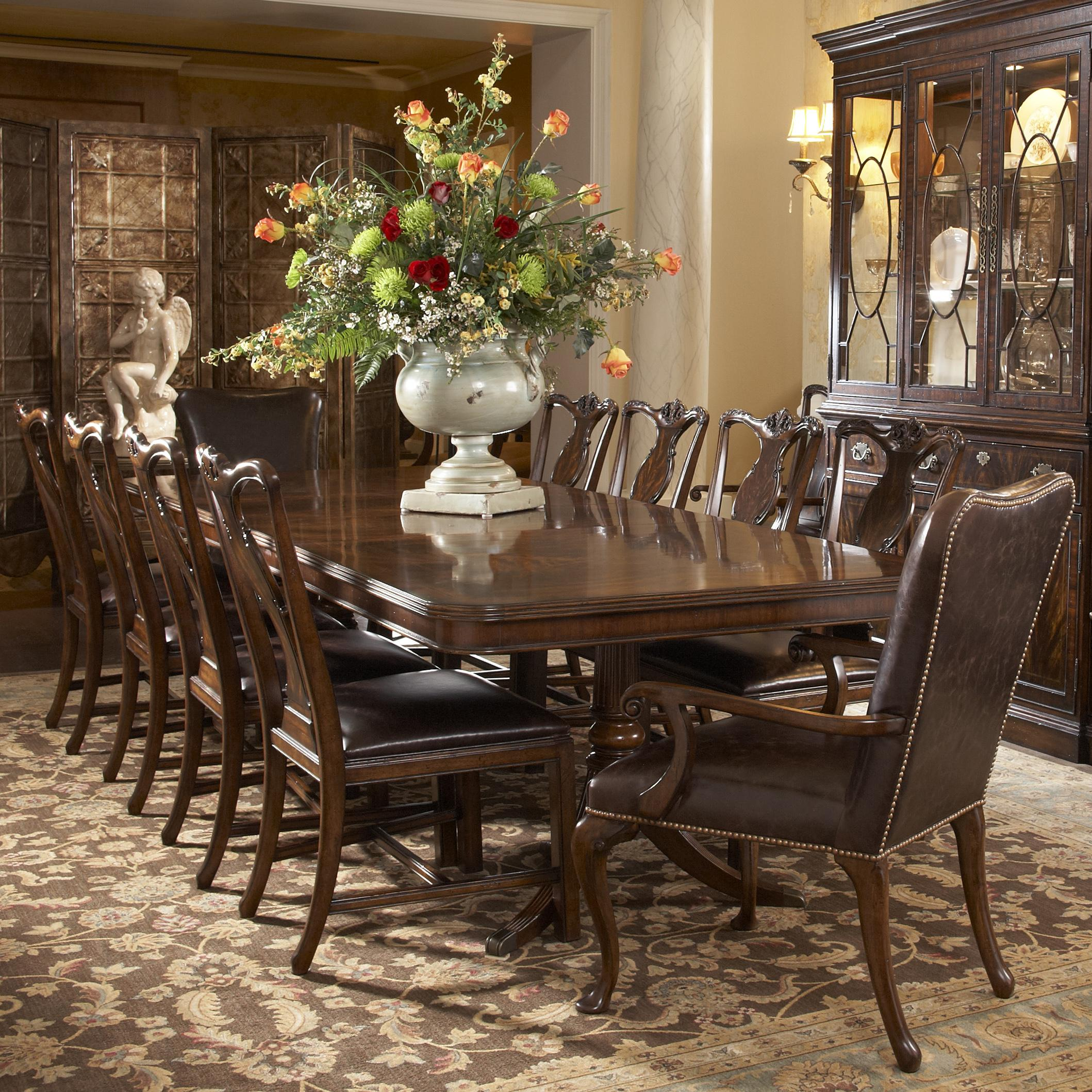 chairs for kitchen table 11 Piece Double Pedestal Dining Table and Splat Back Side Chair with Leather Upholstered Arm Chairs