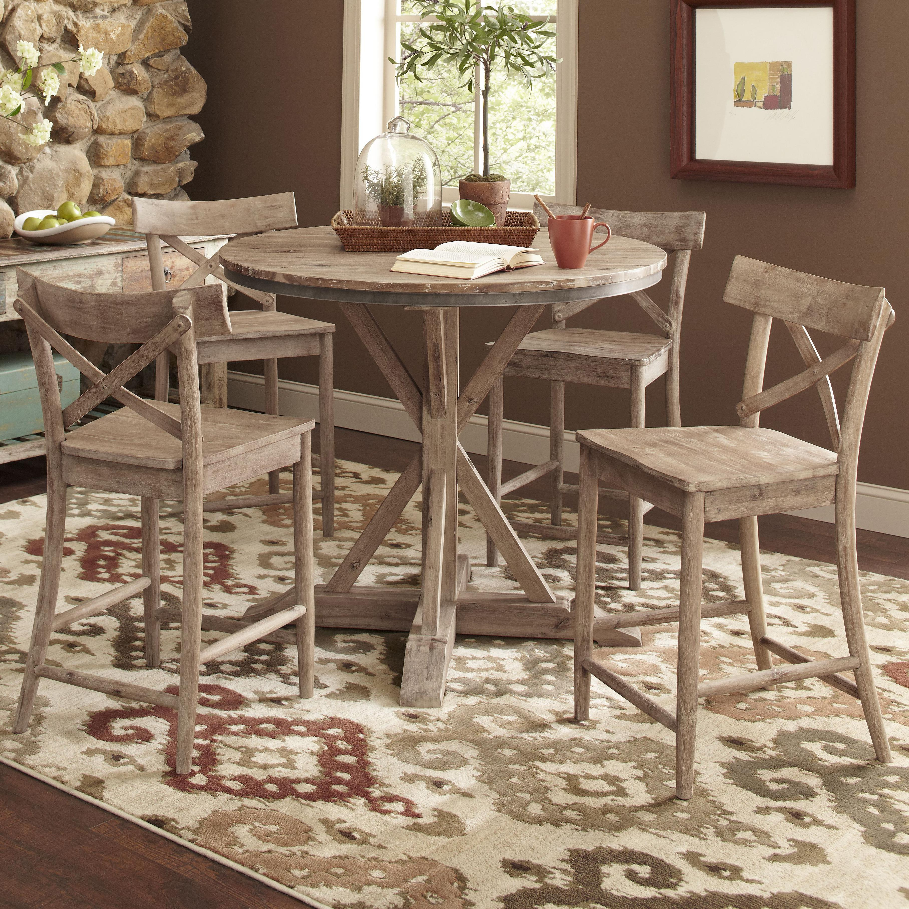 rustic round kitchen table Rustic Casual Counter Height Dining Table Set