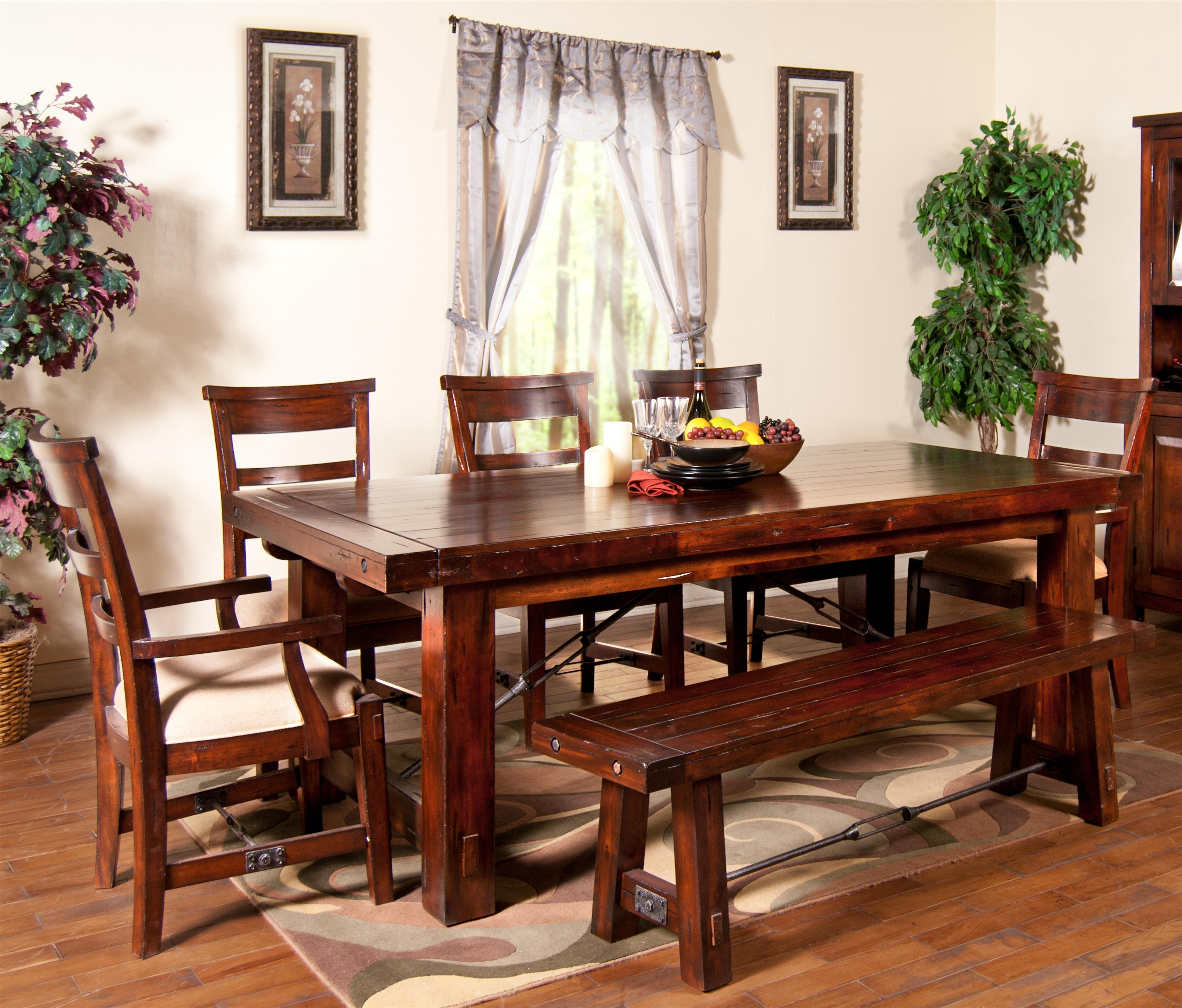 kitchen table bakers 7 Piece Extension Table with Chairs and Bench Set