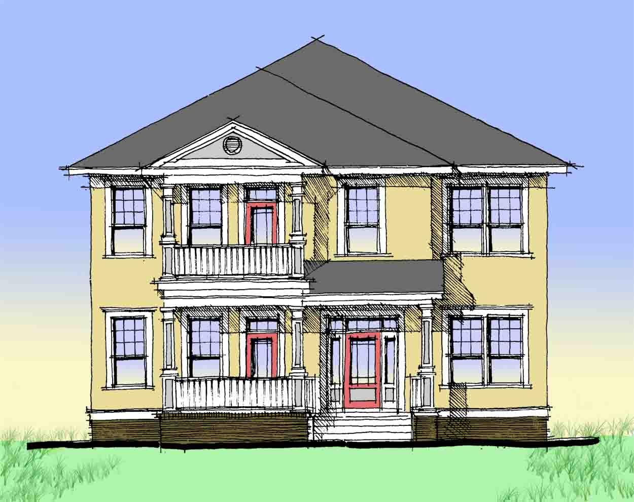 Charleston-Style Double Side Porch - 44014TD ...