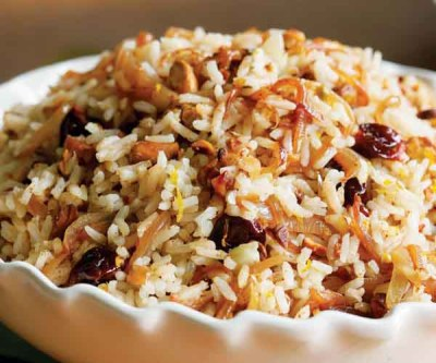 Rice Pilaf with Spiced Caramelized Onions, Orange, Cherry & Pistachio - Recipe - FineCooking