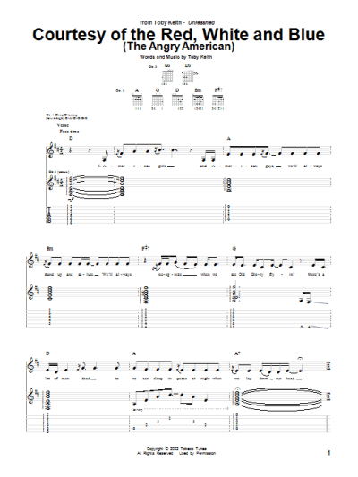 Courtesy Of The Red, White And Blue (The Angry American) Guitar Tab by Toby Keith (Guitar Tab ...